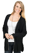 Angie Women's Black Long Sleeve Sweater Cardigan