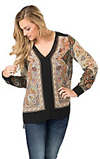 Angie Women's Black with Floral Scarf Print Long Sleeve Fashion Top