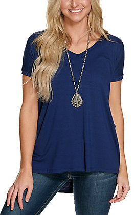 Angie Women's Solid Navy V-Neck Short Sleeve Tee