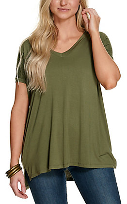 Angie Women's Solid Olive V-Neck Short Sleeve Tee