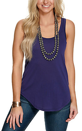 Angie Women's Solid Navy Layering Tank Top
