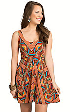 Angie Women's Orange Multicolor Print Knit Skater Dress