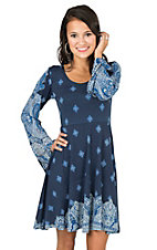 Angie Women's Navy Diamond Print with Long Bell Sleeves A-Line Dress