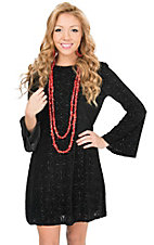 Angie Women's Black Velvet Burnout Long Bell Sleeve Dress