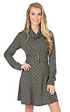Angie Women's Black & Tan Print Cowl Neck Sweater Dress