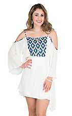 Angie Women's White with Aztec Detailing Cold Shoulder 3/4 Sleeve Tent Dress