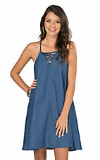 Angie Women's Denim with Lace Up Front Spaghetti Strap Tent Dress