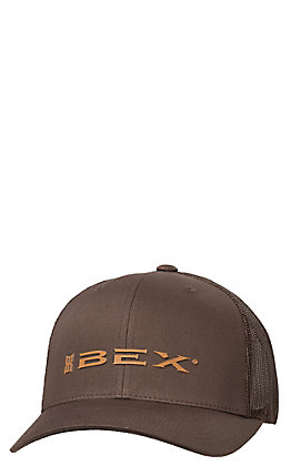 BEX Brown with Tan Rubber Logo Mesh Back Cap