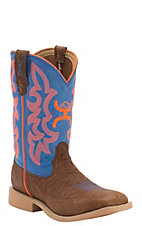 Twisted X HOOey Kids Cognac Bullhide with Neon Blue & Orange Logo Top Square Toe Western Boots