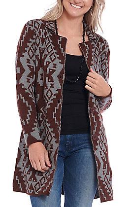 Ethyl Women's Burgundy & Grey Long Sleeve Sweater Cardigan
