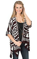 Angie Women's Maroon & White Geo Pattern Sweater Cardigan
