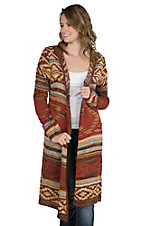 Angie Women's Brown Aztec Print Long Sleeve Cardigan