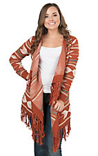Angie Women's Rust with Cream Arrow Print Long Sleeve Sweater Cardigan