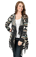 Angie Women's Charcoal Southwest Arrow Pattern with Fringe Sweater Cardigan