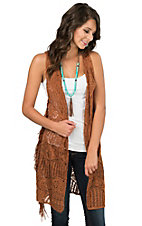 Angie Women's Brown Open Knit with Fringe Sleeveless Vest