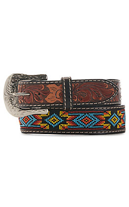 Twisted X Men's Silver Buckle Aztec Print Beaded Belt