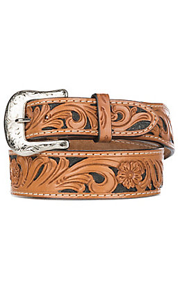 Twisted X Tan Floral with Black Inlay Fashion Belt