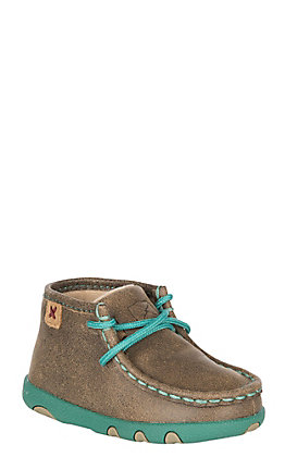 Twisted X Toddler Brown Bomber with Turquoise Laces & Sole Casual Shoe