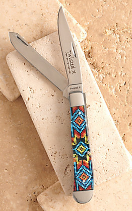 Twisted X Acrylic Beaded Starburst Print Large Trapper Knife