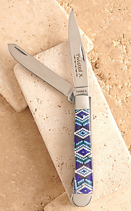 Twisted X Acrylic Blue Beaded Aztec Print Large Trapper Knife