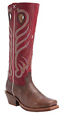 Twisted X Men's Saddle Brown with Red Top Square Toe Buckaroo Western Boots