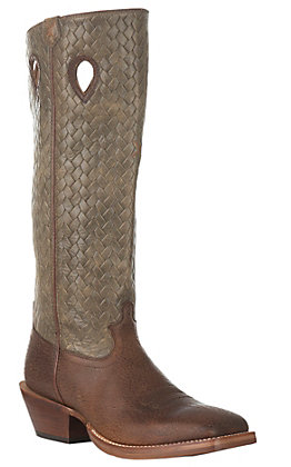 Twisted X Men's Distressed Brown Bomber Buckaroo Square Toe Western Boot