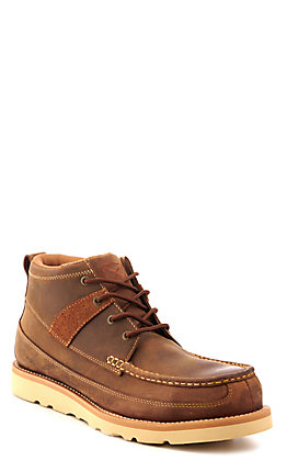 Twisted X Men's Brown Oiled Saddle Crepe Wedge Steel Toe Lace Up Casual Work Shoe
