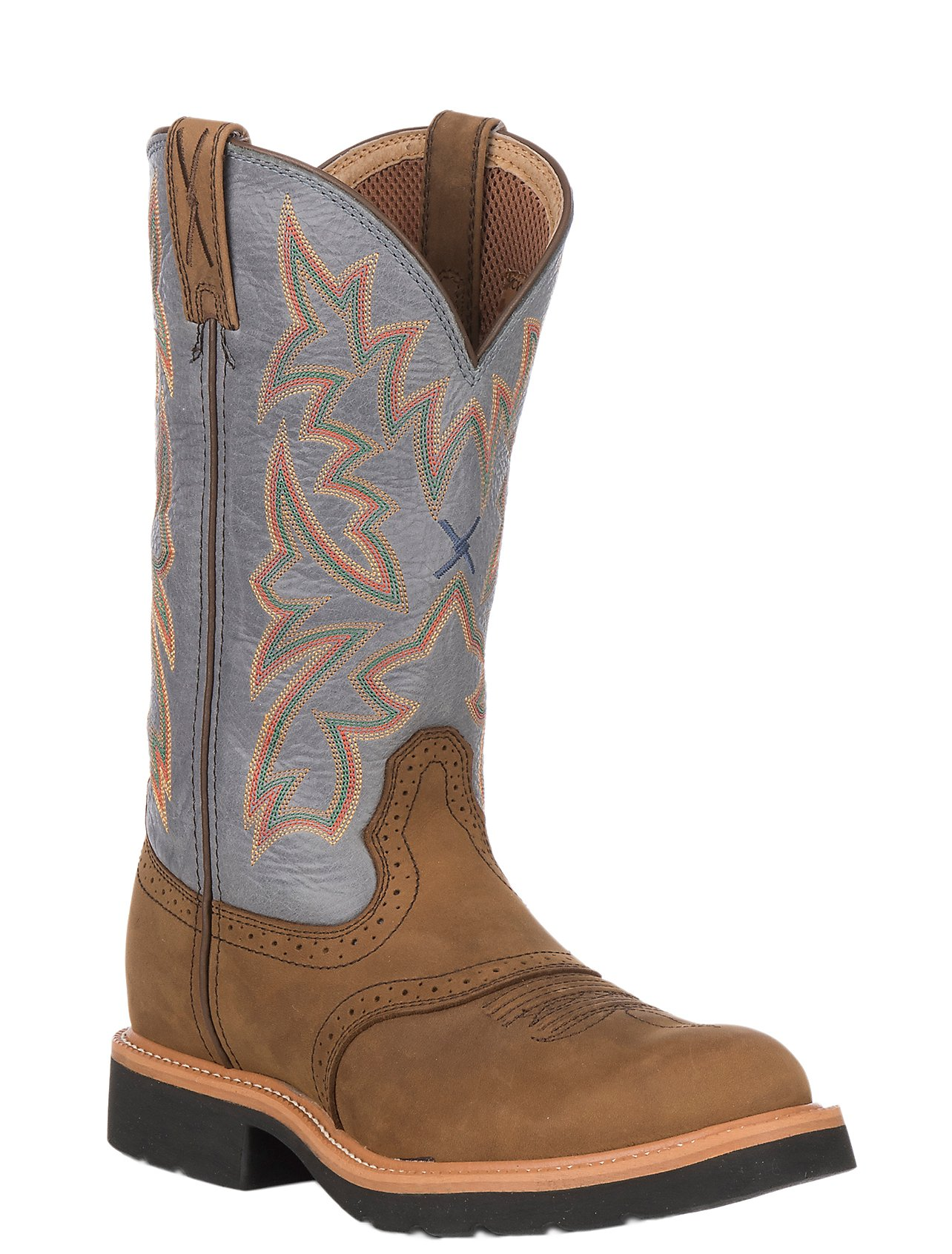 Twisted X Men s Distressed Saddle w  Denim Top Cowboy Work Boots ... eb2a4513684a