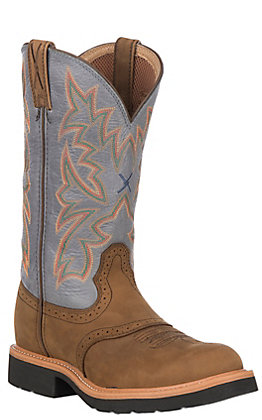 Twisted X Men's Distressed Saddle and Denim Round Soft Toe Work Boots