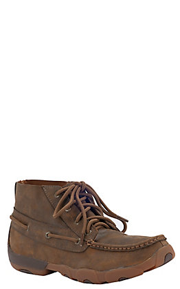 Twisted X Men's Bomber Brown Slider Driving Moccasin Lace Up Chukka Casual Shoes