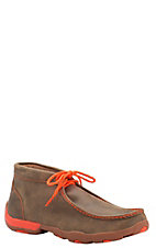Twisted X Men's Brown Bomber with Neon Orange Driving Moccasin Lace Up Casual Shoes