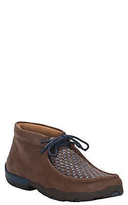 Twisted X Men's Bomber Brown with Blue Checkered Driving Moccasin Lace Up Casual Shoe