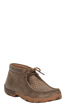 Twisted X Men's Bomber Tan with Brown Checkered Driving Moccasin Casual Shoe
