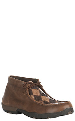 Twisted X Men's Oiled Saddle and Bomber Brown Ostrich Patchwork Driving Moccasin