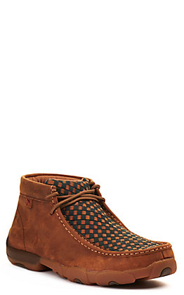 Twisted X Men's Oiled Saddle Brown with Midnight Blue Basketweave Driving Moccasin Casual Shoe