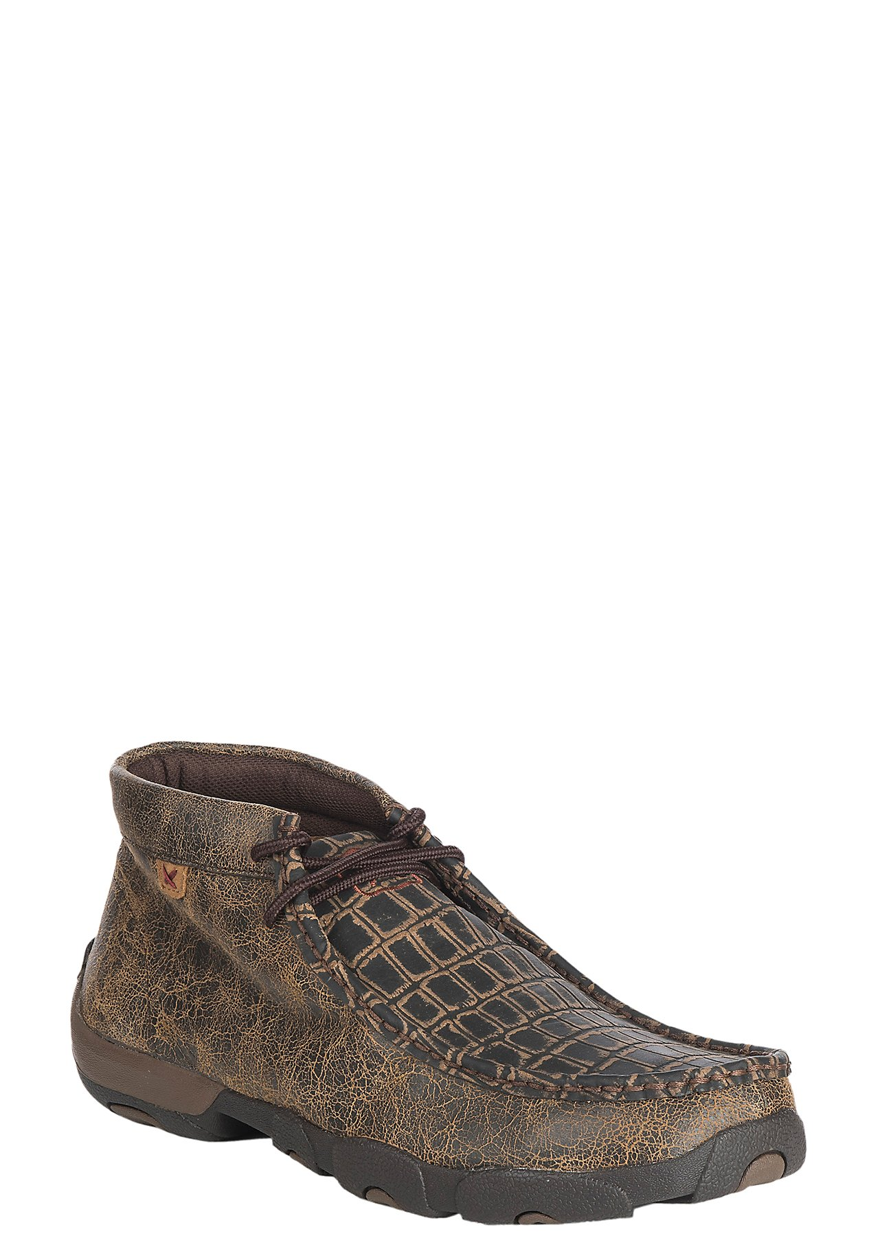 Twisted X Men's Brown w/ Caiman Print Driving Moccasin Casual Shoe