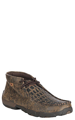 Twisted X Men's Brown with Caiman Gator Print Driving Moccasin Casual Shoe