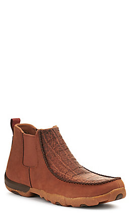 Twisted X Men's Spice Brown Elephant Print Driving Moccasin Slip On Casual Shoes