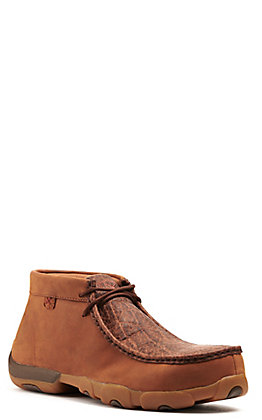 Twisted X Men's Tan Safari Elephant Print Lace Up Chukka Driving Moc Work Shoe