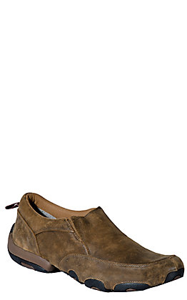 Twisted X Men's Distressed Bomber Brown Driving Moccasin Casual Shoe