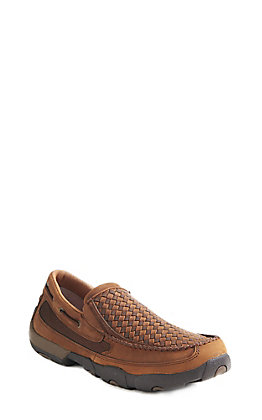 Twisted X Men's Distressed Brown Basket Weave Slip On Casual Shoe