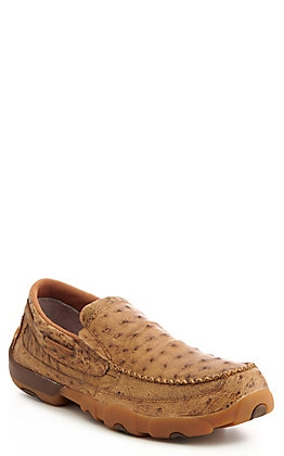 Twisted X Tan Ostrich Print Slip On Casual Shoes