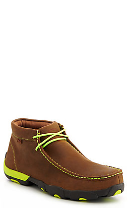 Twisted X Men's Distressed Brown with Neon Yellow Laces Chukka Driving Moc Steel Toe Work Shoe