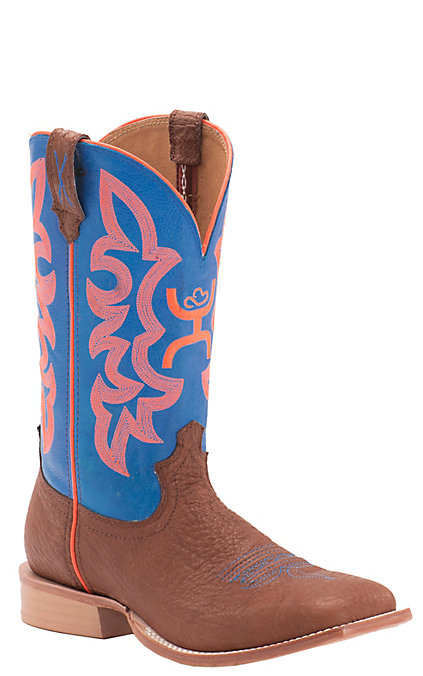 620d9cda4a2 Twisted X HOOey Men's Cognac Bullhide with Neon Blue & Orange Logo Top  Square Toe Western Boots