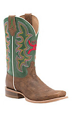 Twisted X HOOey Men's Suntan Shoulder with Green Logo Top Square Toe Western Boots