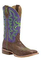 Twisted X HOOey Men's Brown Shoulder with Purple & Lime Green Logo Top Square Toe Western Boots