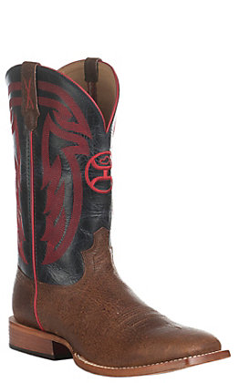 Twisted X HOOey Men's Tan with Black and Red Upper Western Square Toe Boots