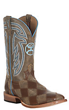 Twisted X HOOey Men's Bomber Brown Patchwork and Blue Stitching Western Square Toe Boot