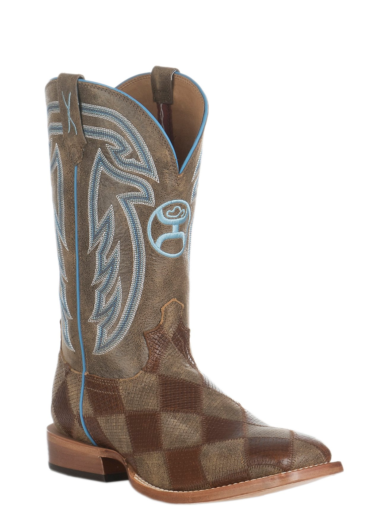 Twisted X HOOey Men s Bomber Brown Patchwork and Blue Stitching Western  Square Toe Boot  4359bc324ec
