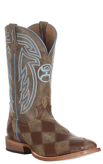 479471a11e18e Twisted X HOOey Men's Bomber Brown Patchwork and Blue Stitching Western  Square Toe Boot